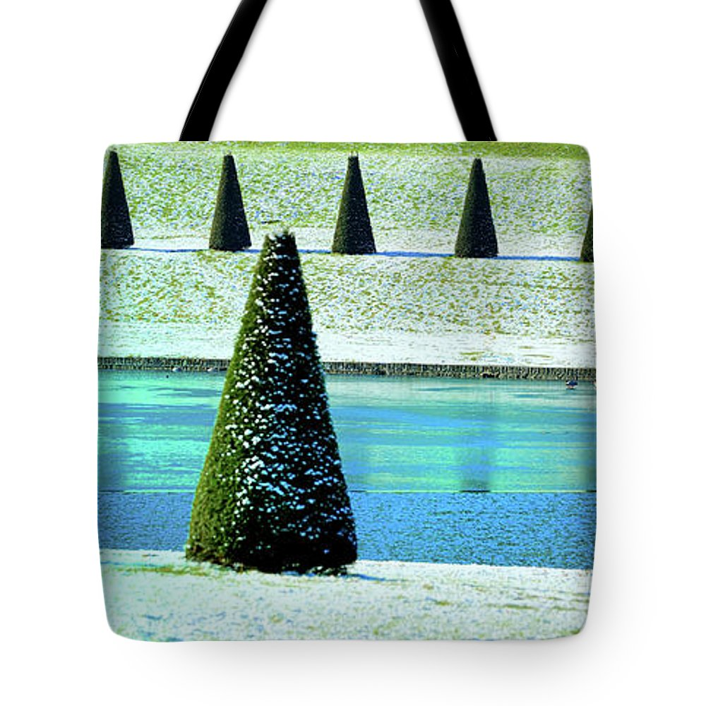 Tranquility Tote Bag featuring the photograph Snow Covered Garden by Martial Colomb