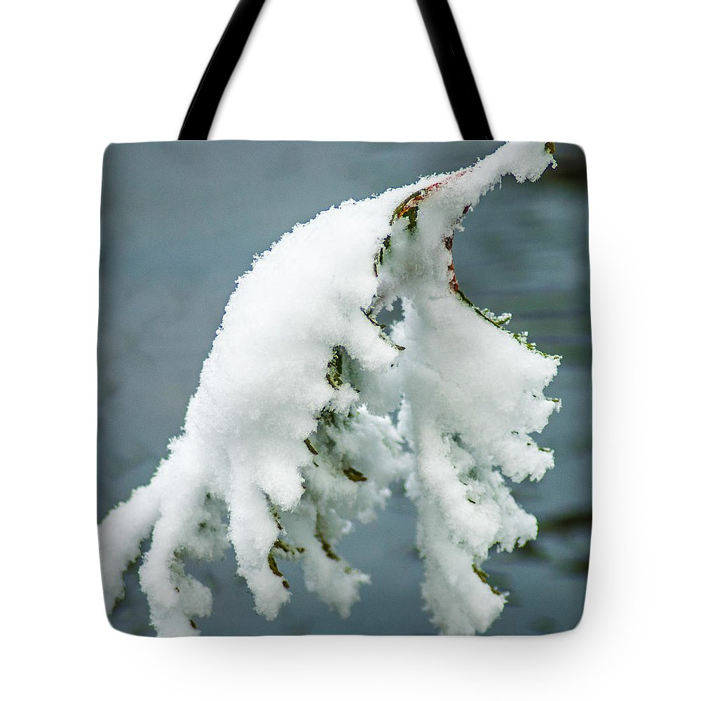Optical Playground By Mp Ray Tote Bag featuring the photograph Snow Covered Pine Tree Branch by Optical Playground By MP Ray