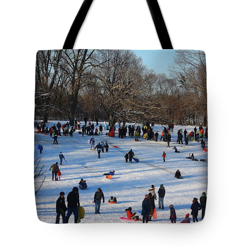 Snow Day - Fun Day At The Park - Snow Storm - Human Interest - Nature Tote Bag featuring the photograph Snow Day - Fun Day At The Park by Dora Sofia Caputo Photographic Design and Fine Art