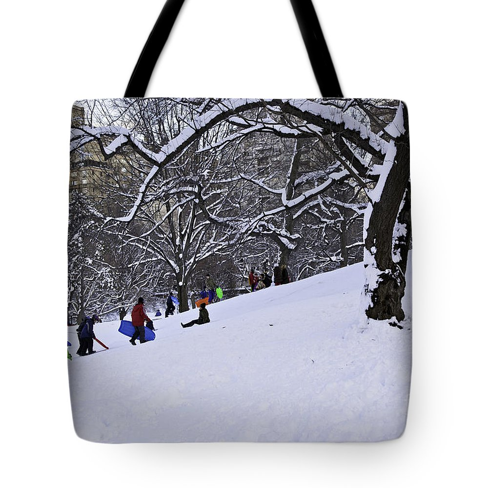 Owboards Tote Bag featuring the photograph Snow Day In The Park by Madeline Ellis
