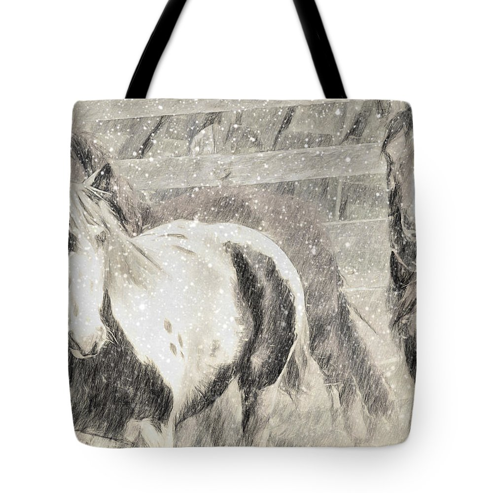 Horses Tote Bag featuring the photograph Snow Day Roundup by Alice Gipson