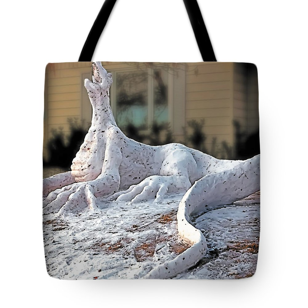 Weird Tote Bag featuring the painting Snow Dragon by Terry Reynoldson