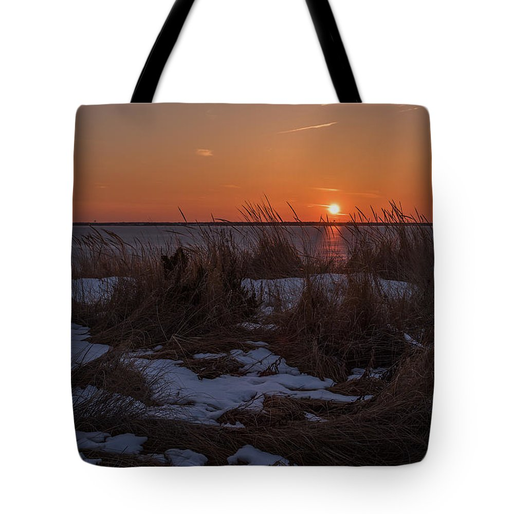 Terry Deluco Tote Bag featuring the photograph Snow Dune Sunset Seaside Park Nj by Terry DeLuco