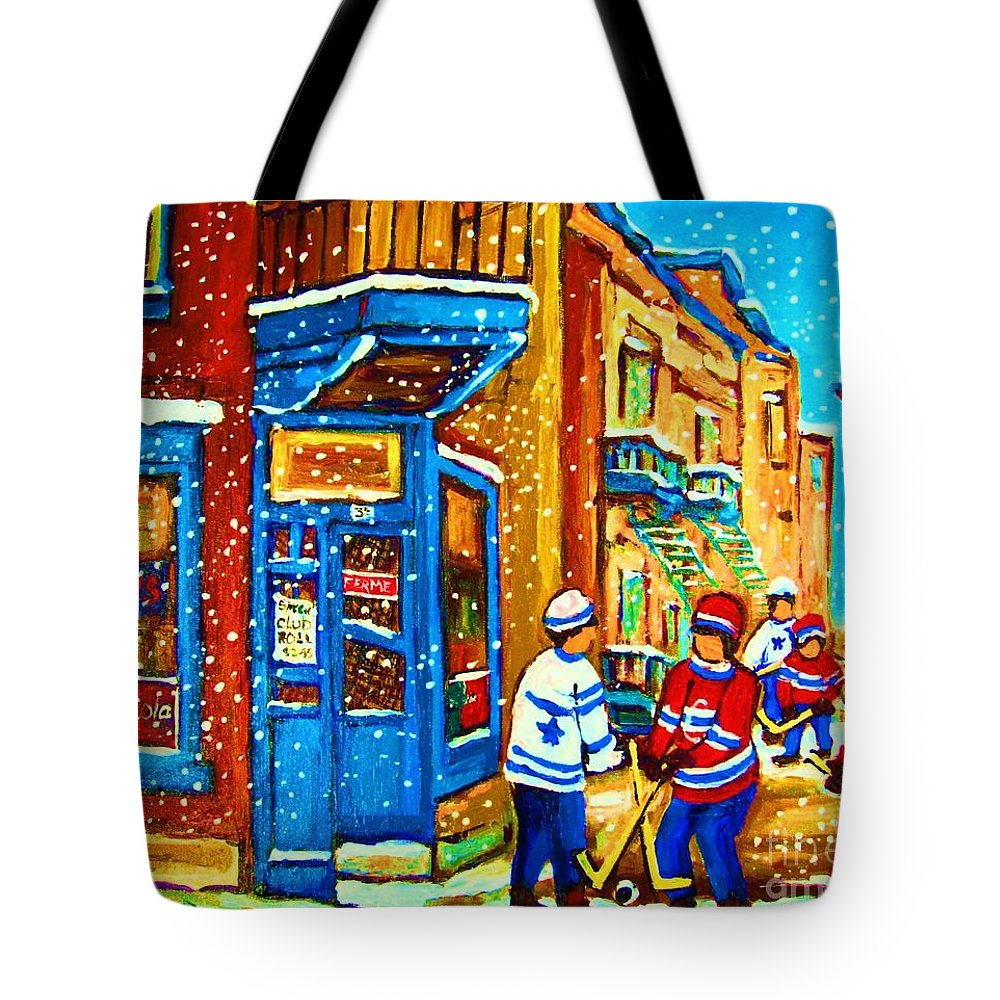 Wilenskys Tote Bag featuring the painting Snow Falling On The Game by Carole Spandau