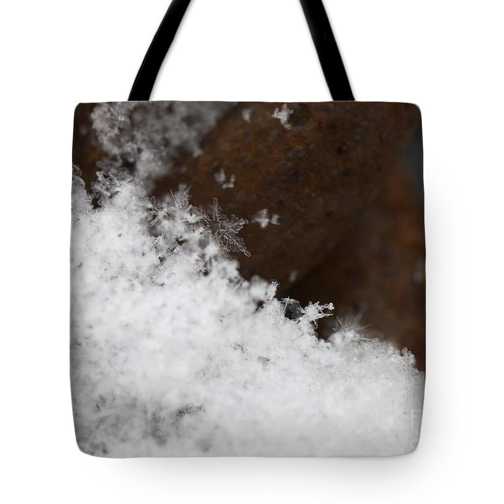 Snow Flake On Rusty Chain Tote Bag featuring the photograph Snow Flake Macro 2 by Michael Mooney