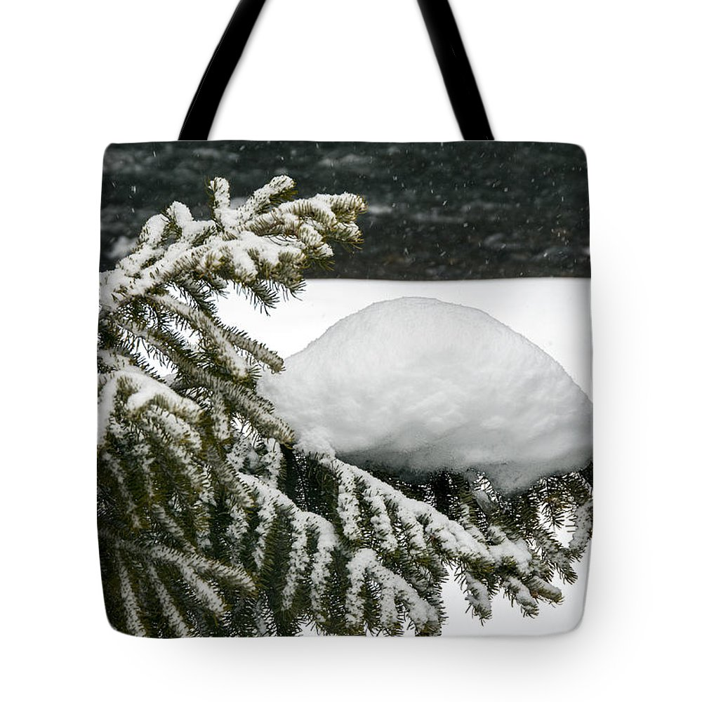 Yellowstone National Park Tote Bag featuring the photograph Snow Hill by Bob Phillips