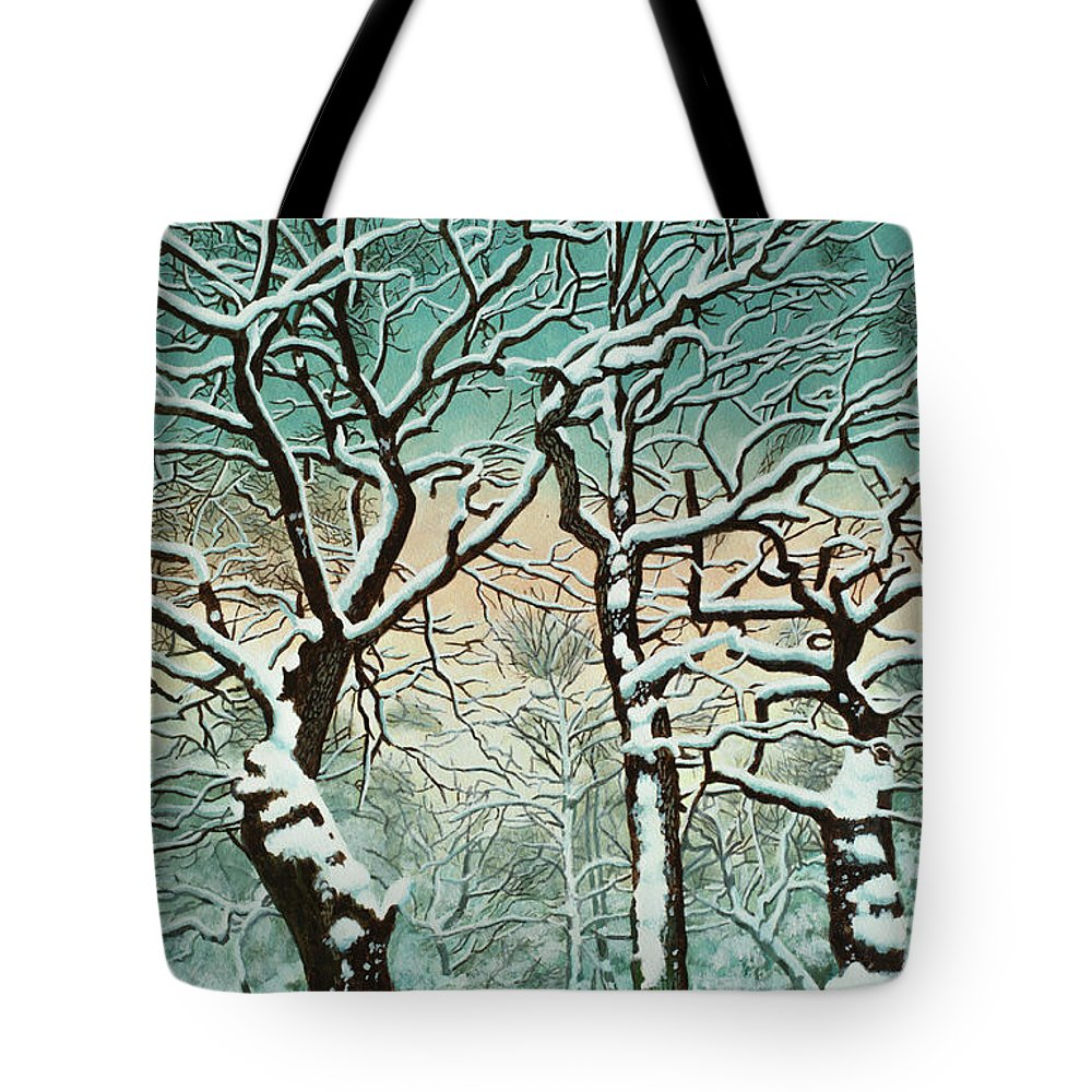 People Tote Bag featuring the digital art Snow In Forest by Georgette Douwma