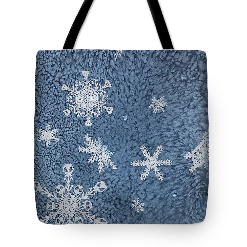 Contemporary Tote Bag featuring the painting Snow Jewels by Margaret Bobb