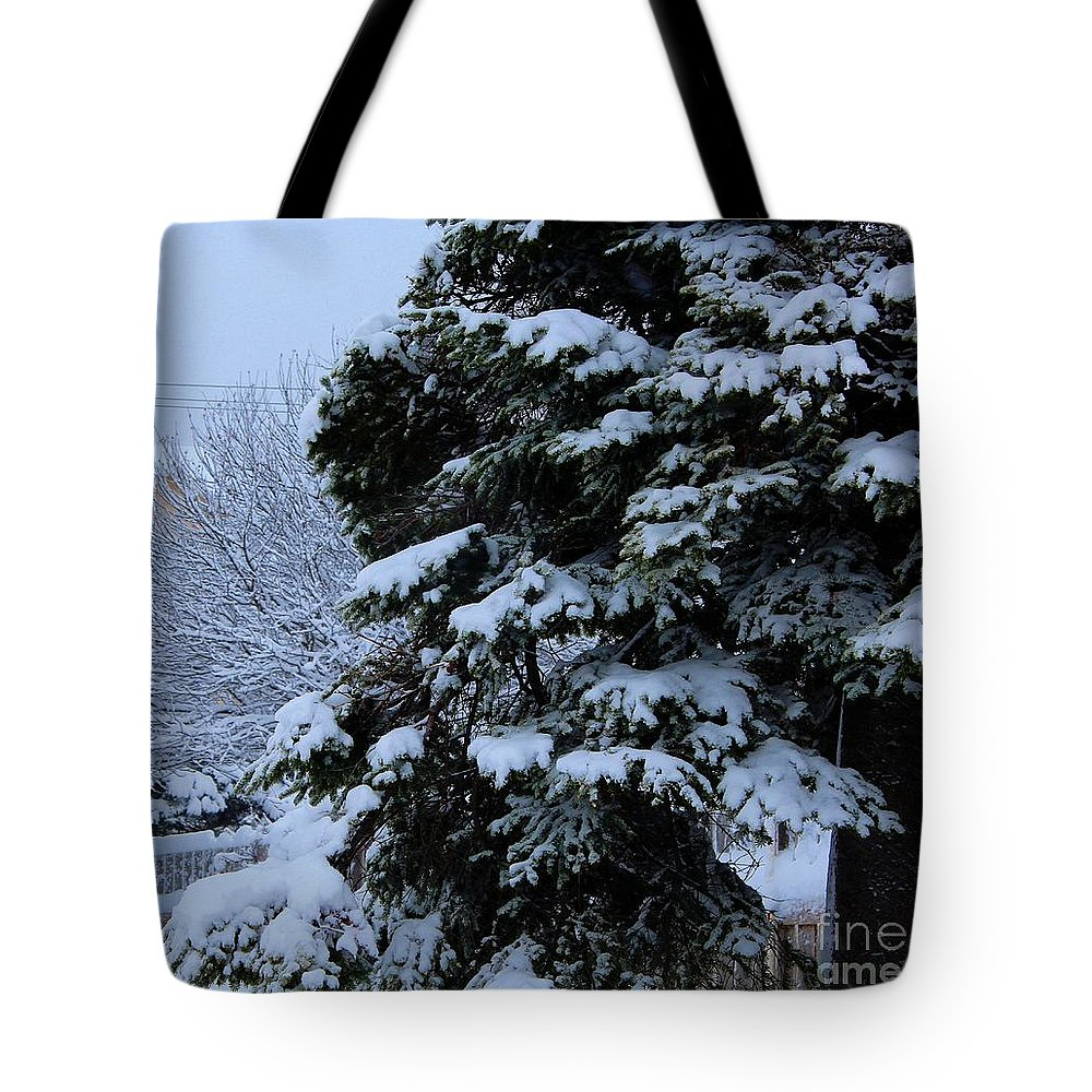 Snow Covered Tree Tote Bag featuring the photograph Snow Laden Limbs - Tree - Snow - Snow Storm by Barbara Griffin
