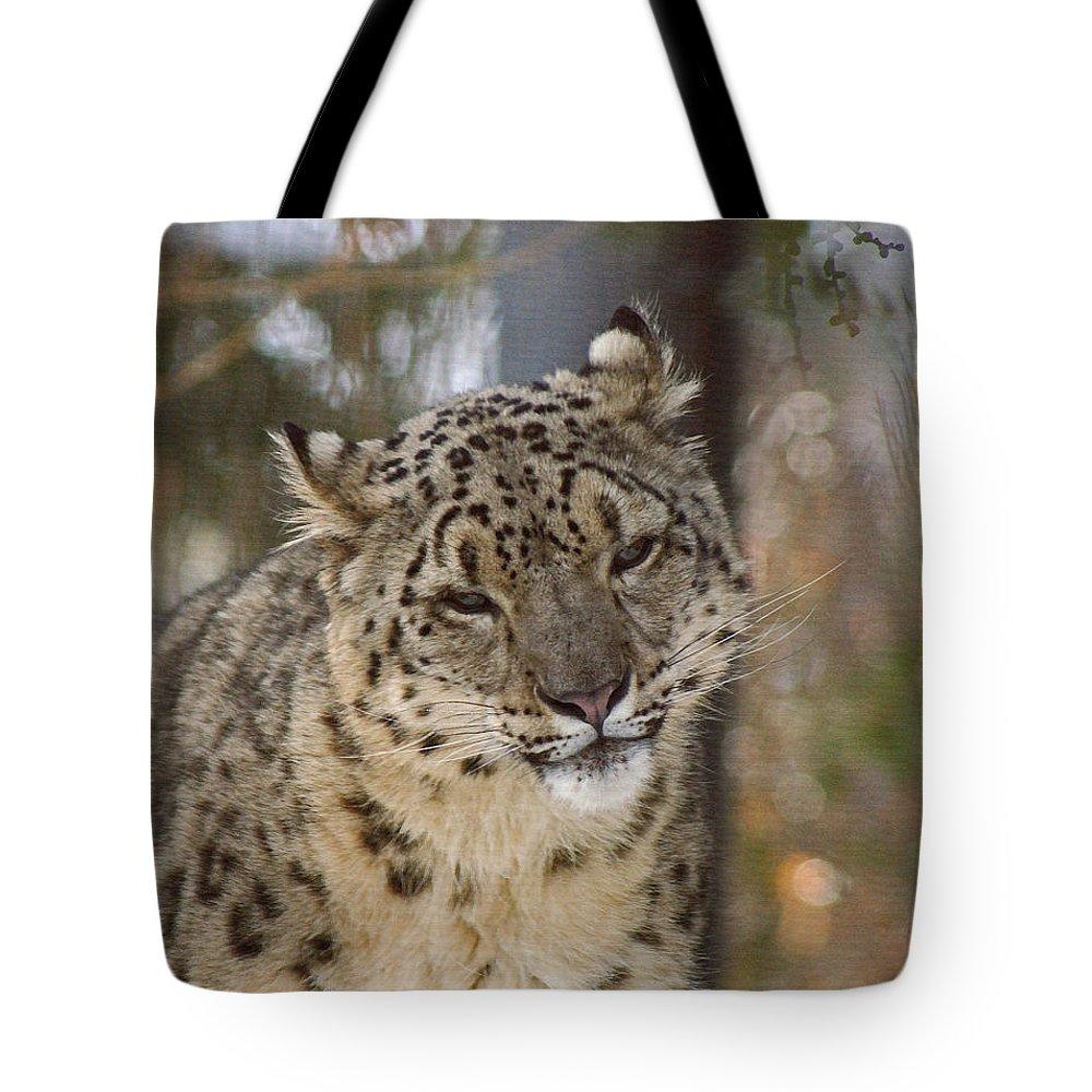 Snow Leopard Tote Bag featuring the digital art Snow Leopard by Ernie Echols