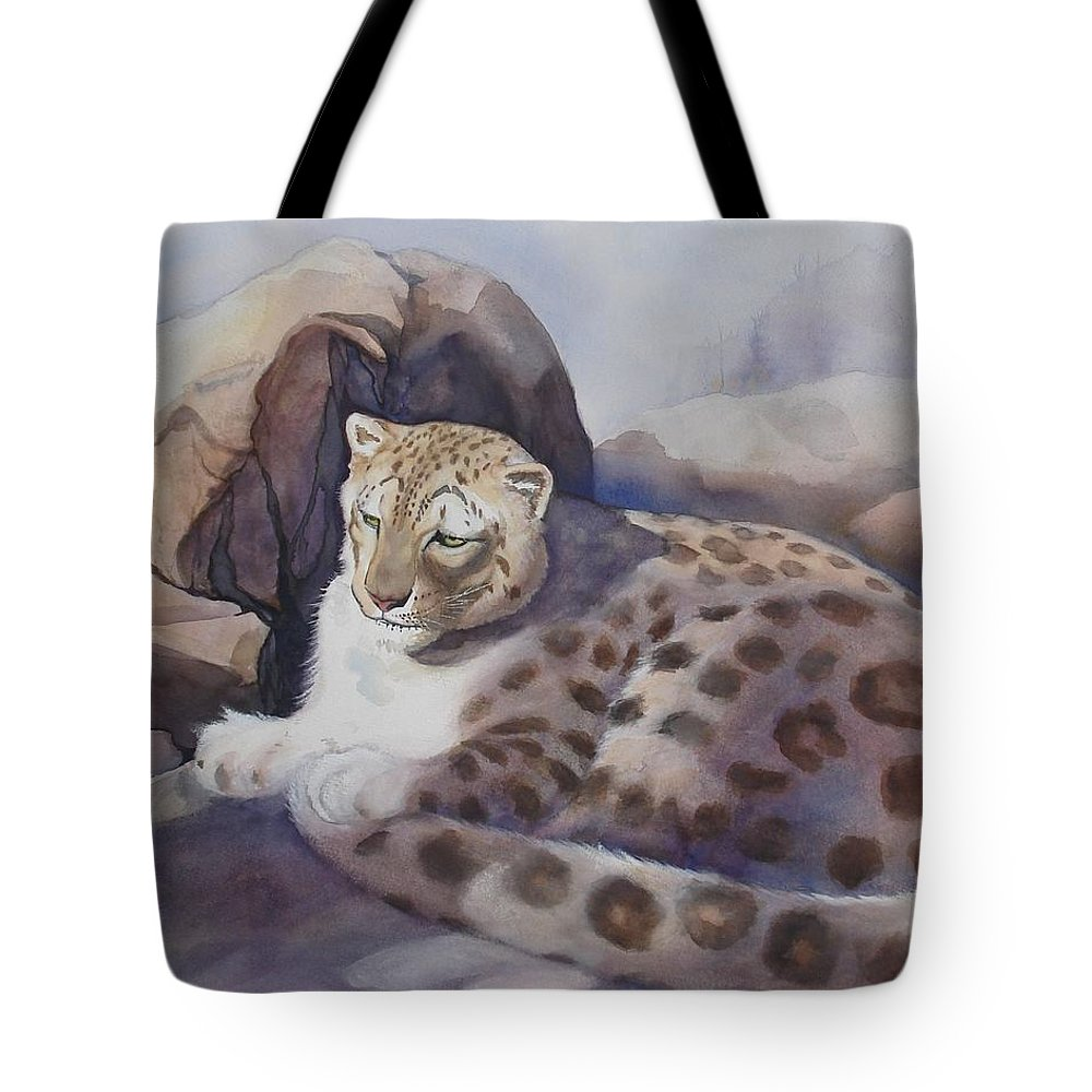 Snow Leopard Tote Bag featuring the painting Snow Leopard by Marilyn Jacobson