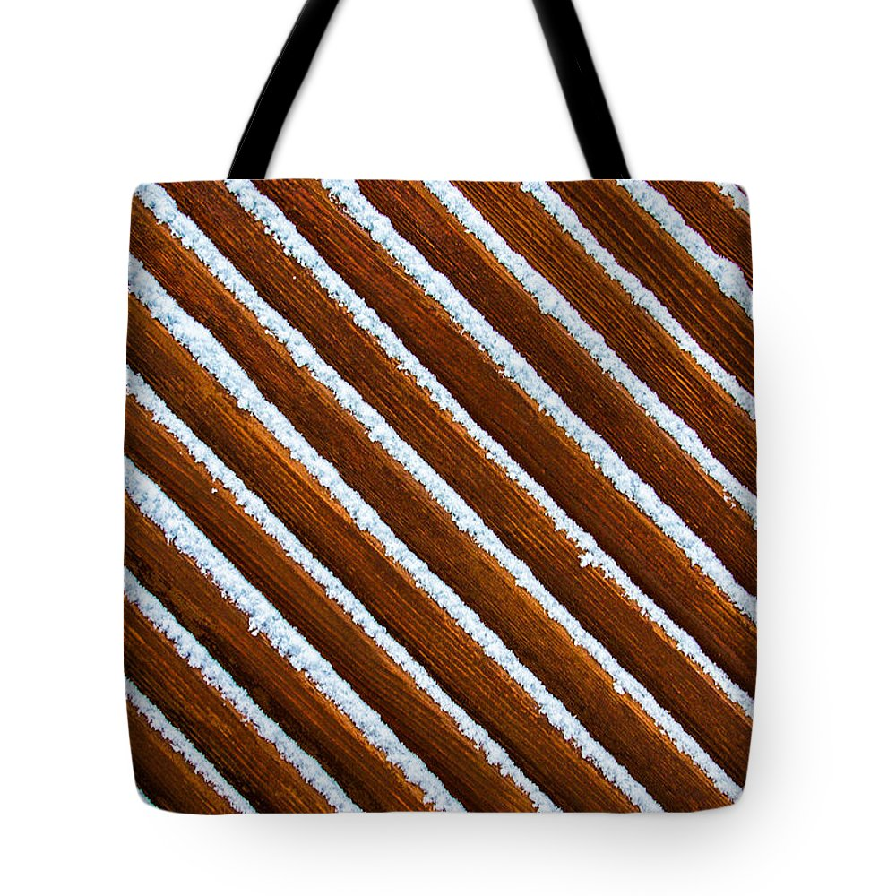 Wood Tote Bag featuring the photograph Snow Lines by Christine Czernin Morzin