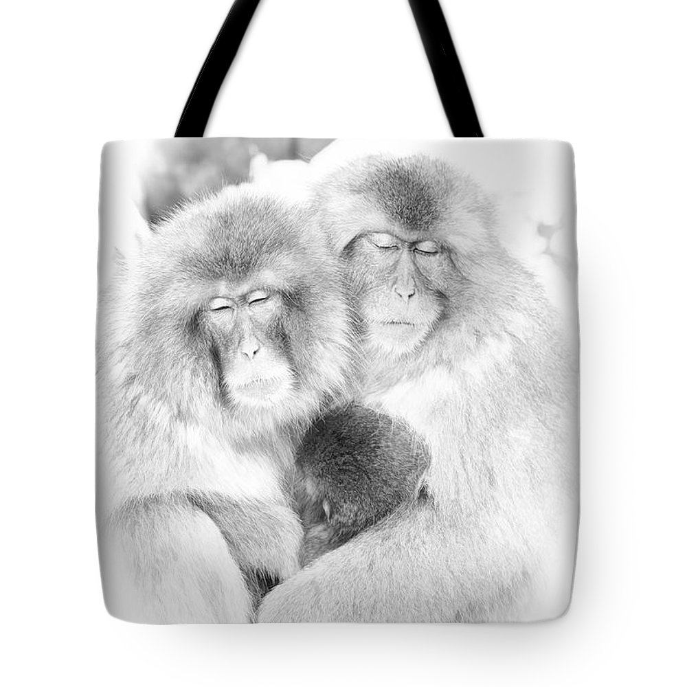 Snow Tote Bag featuring the digital art Snow Monkey Character Study Vi by Michele Steffey