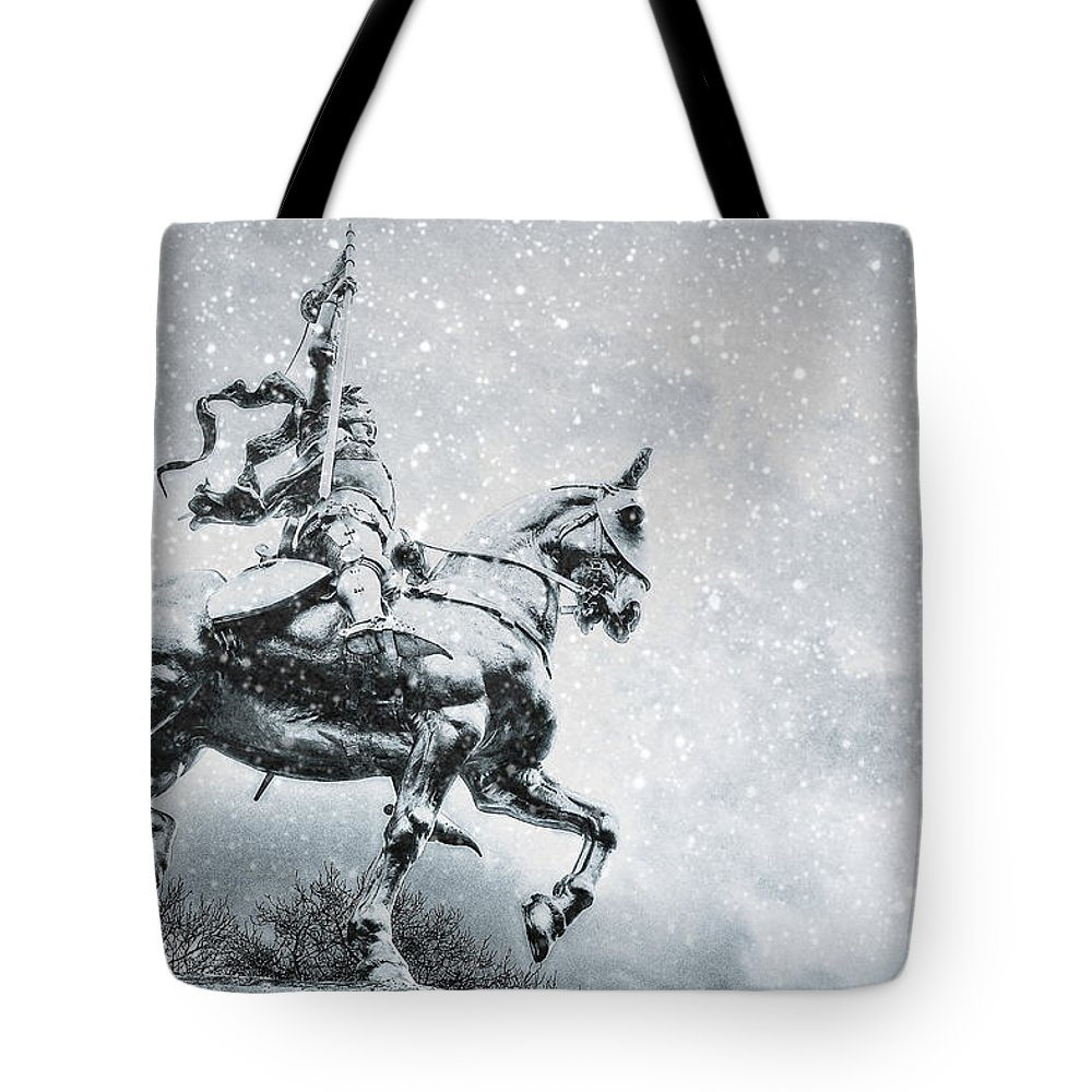 Joan Of Arc Statue In Philadelphia Tote Bag featuring the photograph Snow On Joan by Alice Gipson