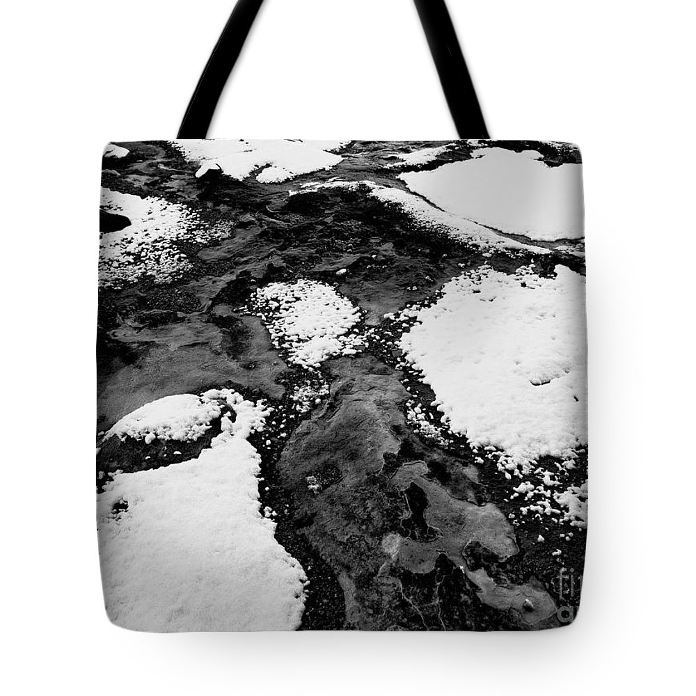Black And White Photo Tote Bag featuring the digital art Snow On Rock Bw by Tim Richards