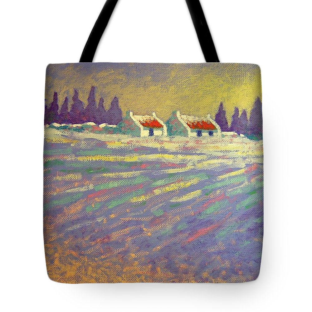 Ireland Tote Bag featuring the painting Snow Scape County Wicklow by John Nolan