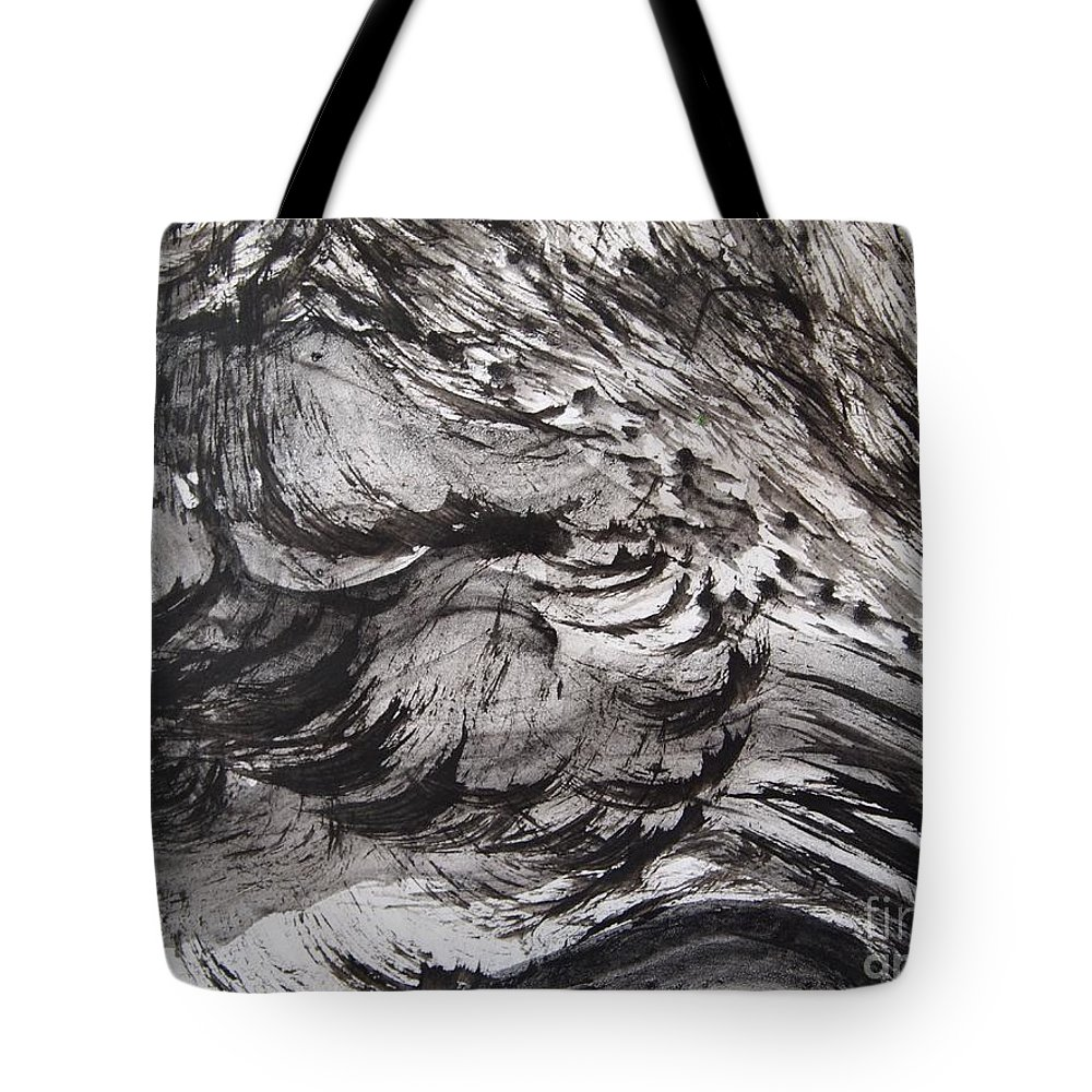 Ink Brush Drawing Tote Bag featuring the drawing Snow Slope by Nancy Kane Chapman