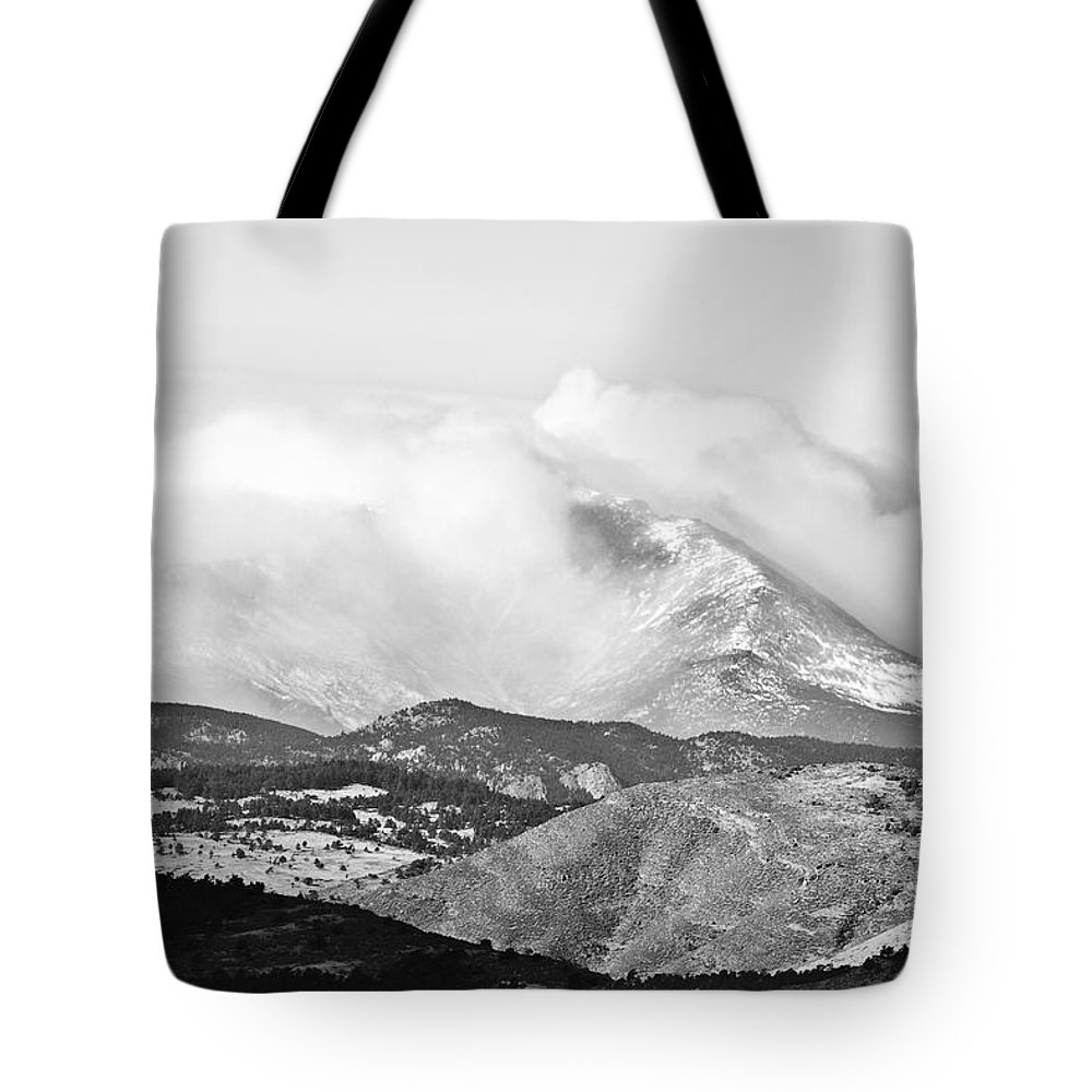 Colorado Tote Bag featuring the photograph Snow Storm On The Twin Peaks Longs And Meeker by James BO Insogna