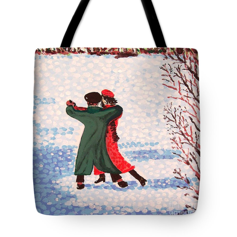 Snow Tote Bag featuring the painting Snow Tango by Alan Hogan