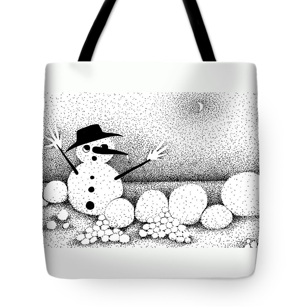 Designs Tote Bag featuring the drawing Snowball Fight by Joy Bradley