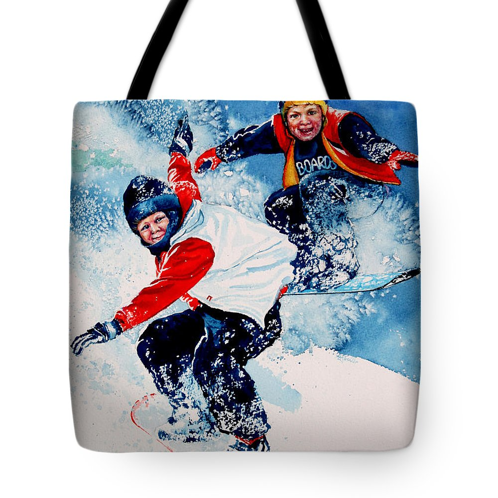 Sports Tote Bag featuring the painting Snowboard Psyched by Hanne Lore Koehler