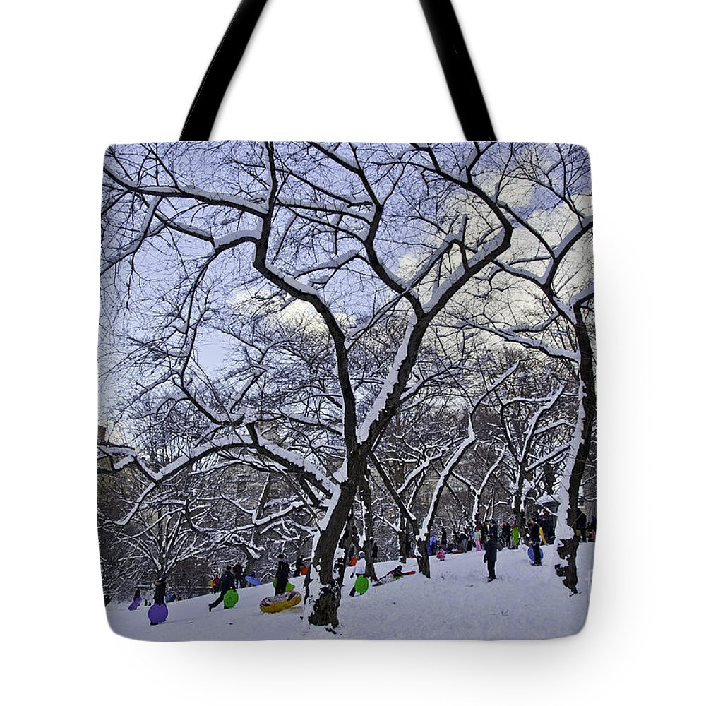 Snowboards Tote Bag featuring the photograph Snowboarders In Central Park by Madeline Ellis
