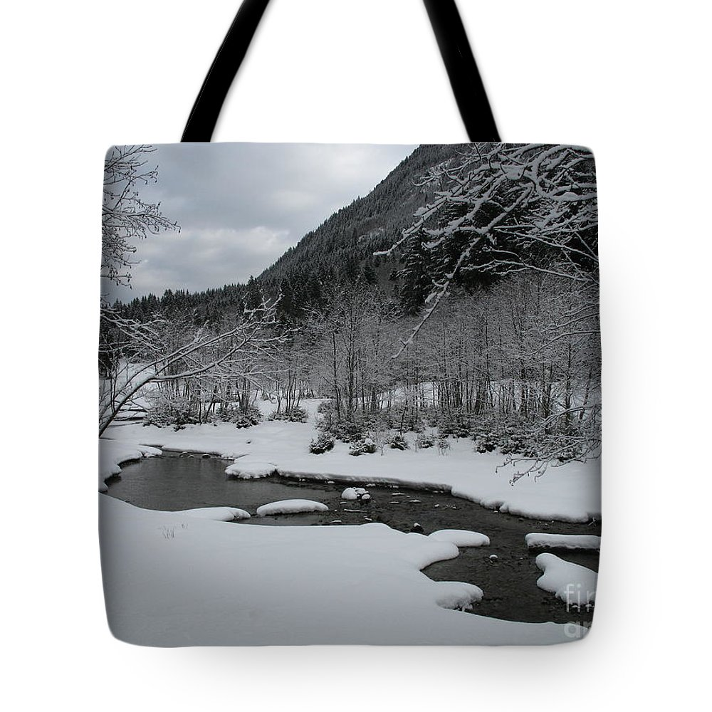 Creek Tote Bag featuring the photograph Snowed Under Valley by Christiane Schulze Art And Photography
