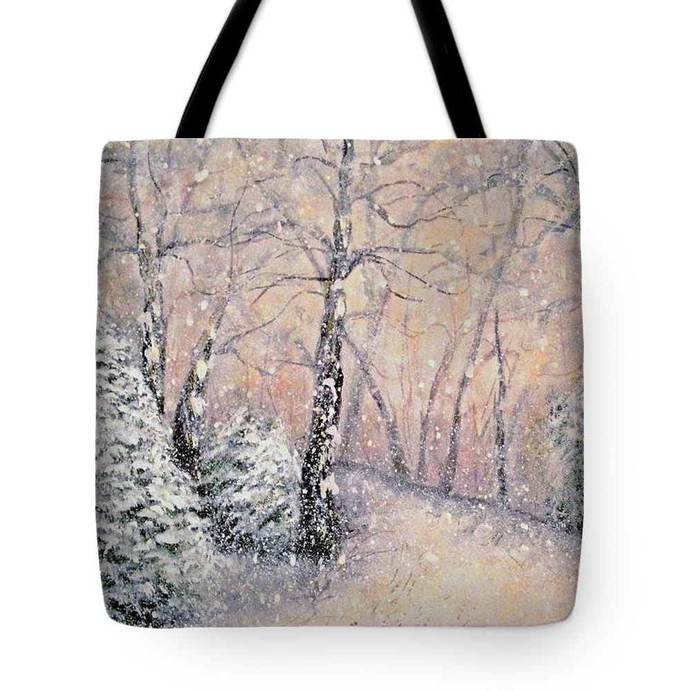 Snow Landscape Tote Bag featuring the painting Snowflakes by Natalie Holland