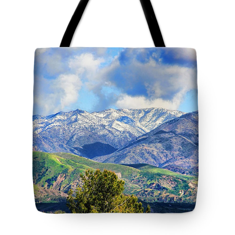 Snowing In Orange County Tote Bag featuring the photograph Snowing In Orange County by Mariola Bitner