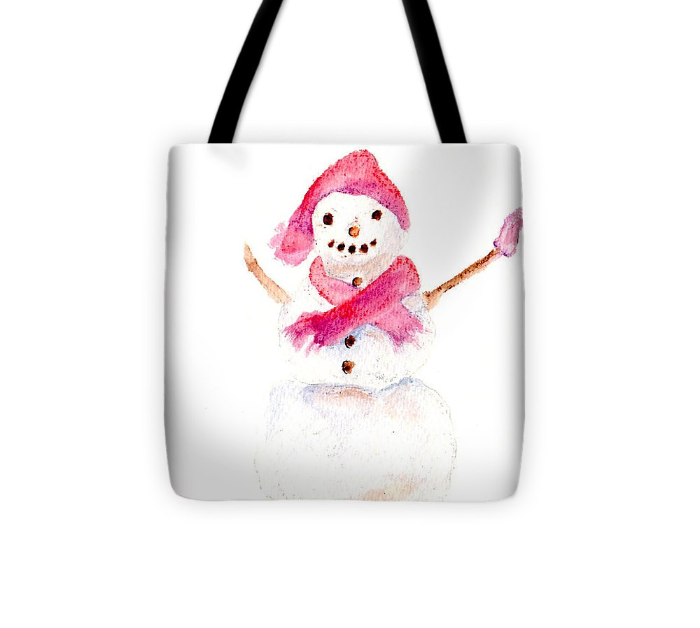 Snowman Tote Bag featuring the painting Snowman by Claire Bull