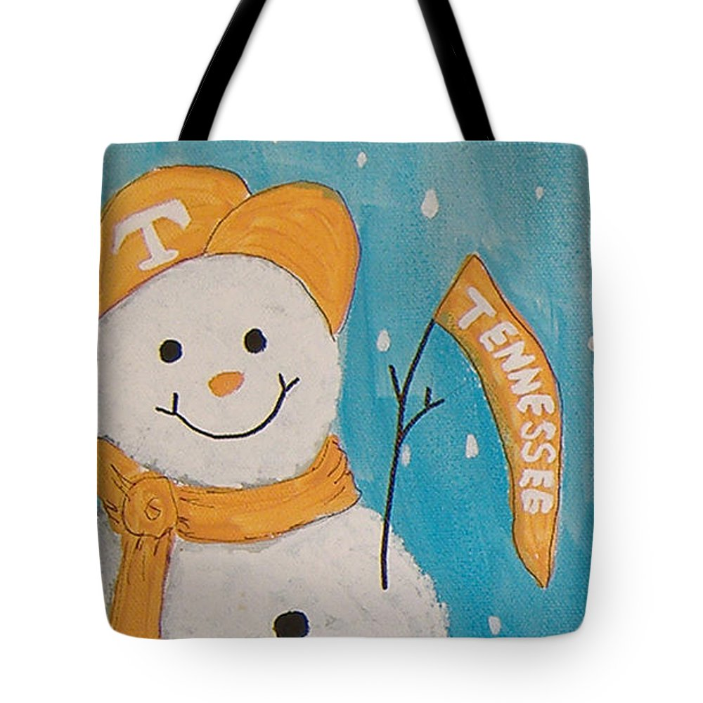 Ut Tote Bag featuring the painting Snowman University Of Tennessee by Lee Owenby