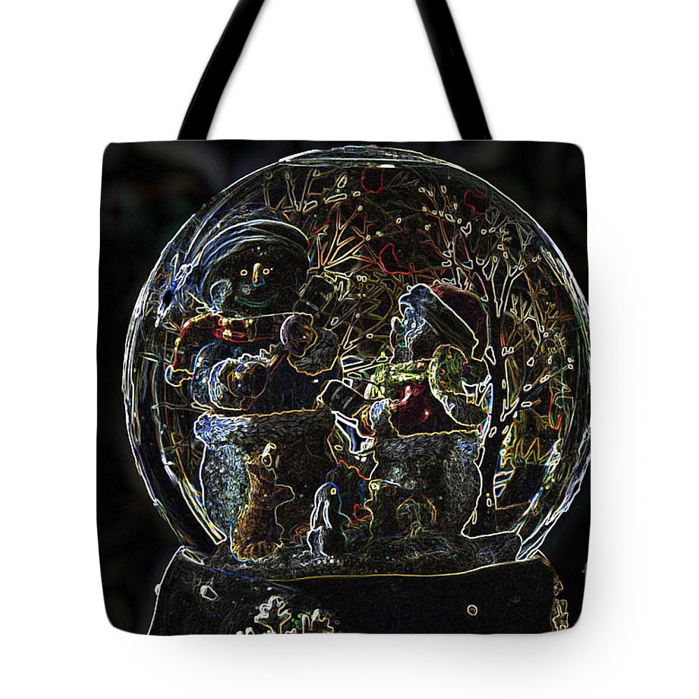 Snowmen Tote Bag featuring the photograph Snowmen Neon Water Globe by Thomas Woolworth