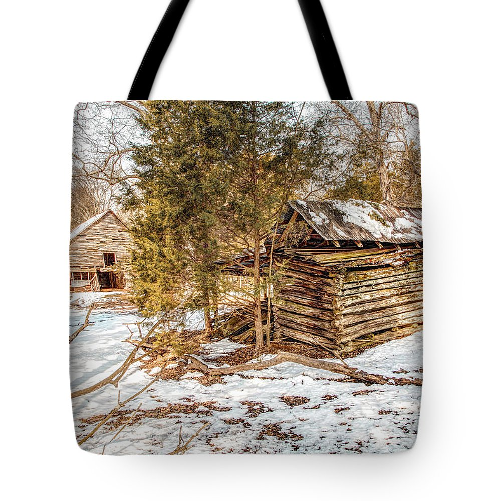 Clouds Tote Bag featuring the photograph Snowy Barn by Bobby Hicks