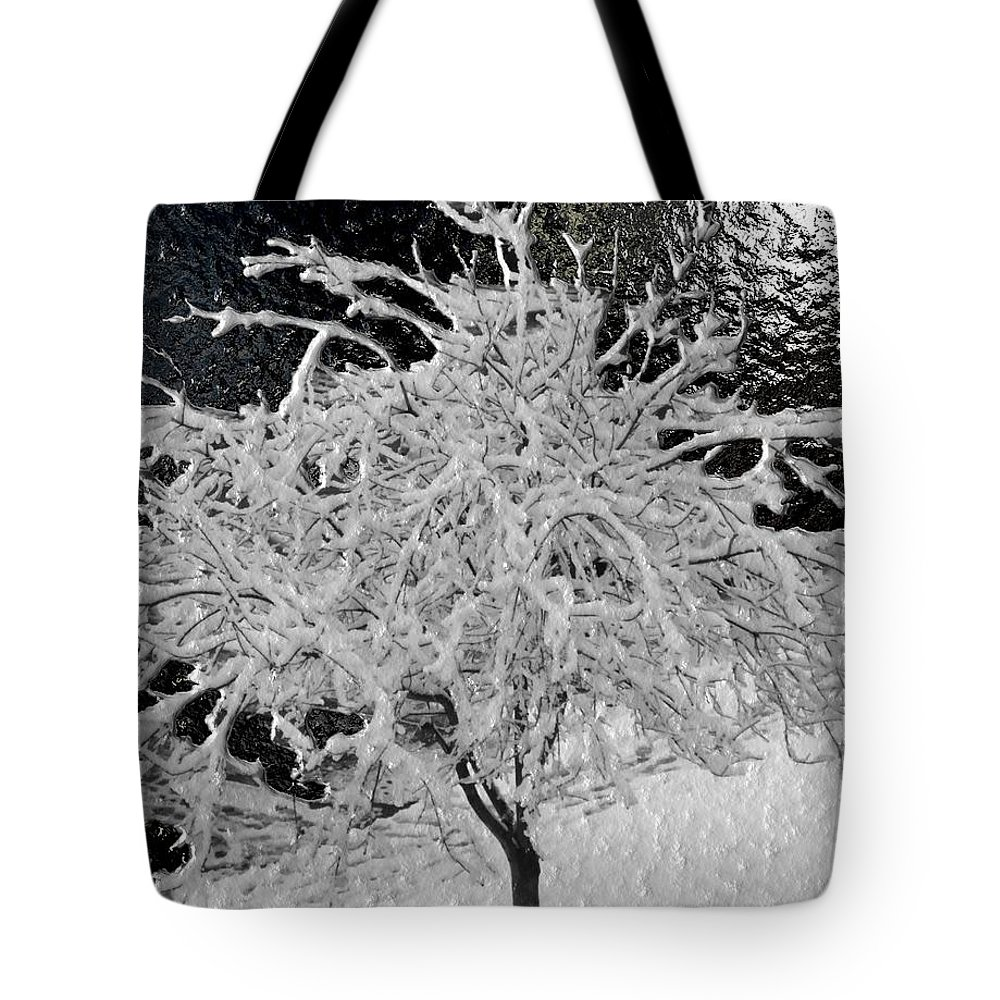Snow Tote Bag featuring the digital art Snowy Branches In Darkness by Michael Hurwitz
