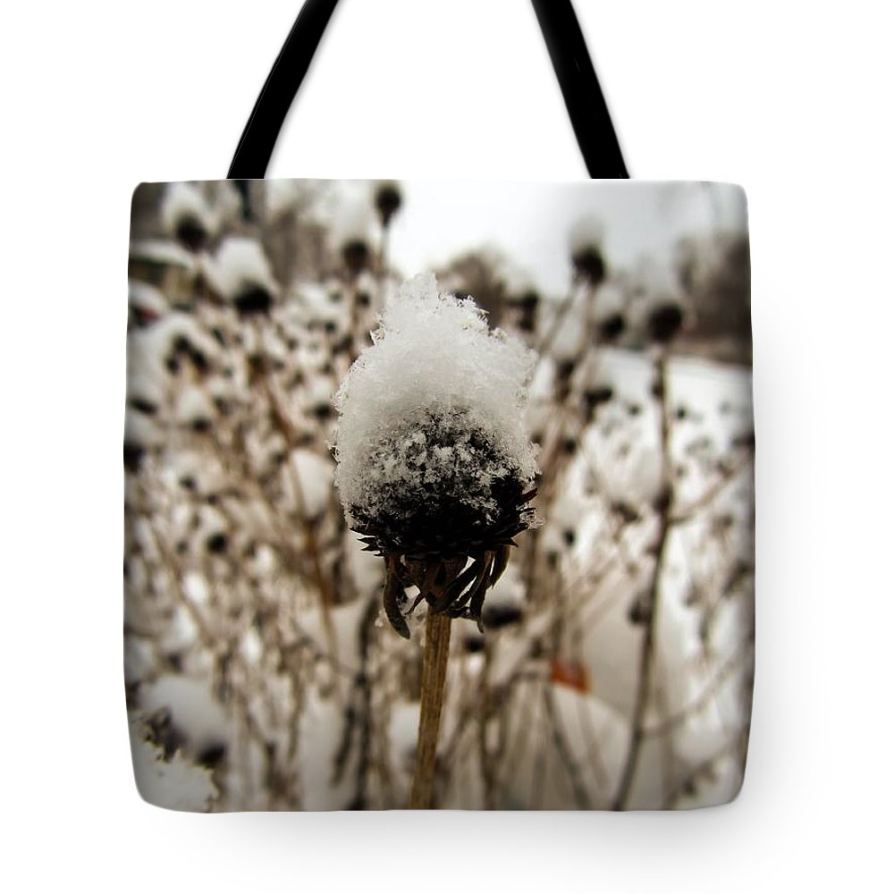 Snowy Cap Tote Bag featuring the photograph Snowy Cap by Cynthia Woods