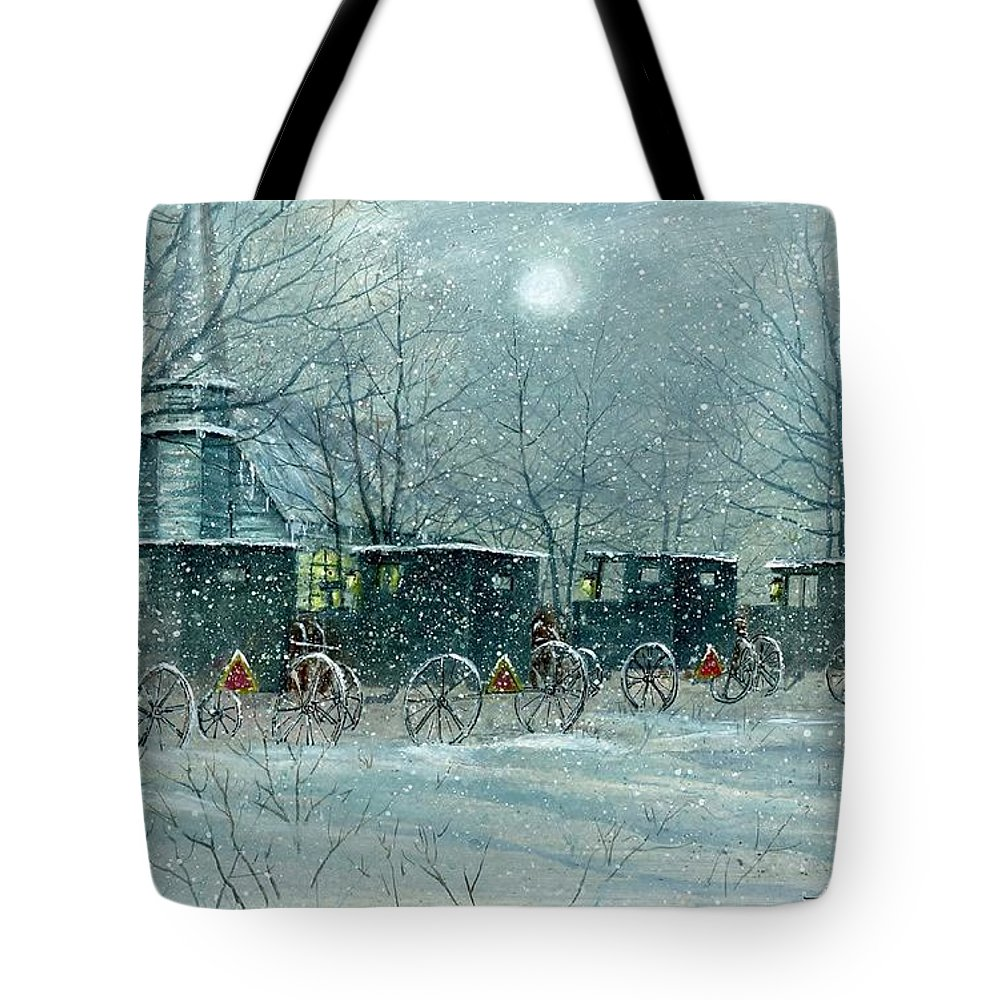 Snowy Carriages Tote Bag featuring the painting Snowy Carriages by Steven Schultz