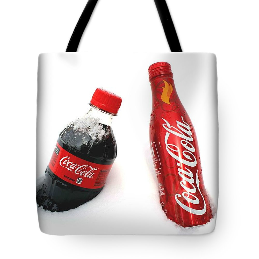 Snow Tote Bag featuring the photograph Snowy Coca - Cola by Fiona Kennard