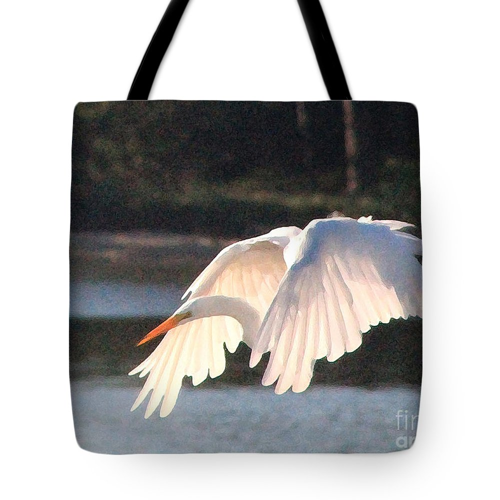 Snowy Egret Tote Bag featuring the photograph Snowy Egret by Catherine Sprague