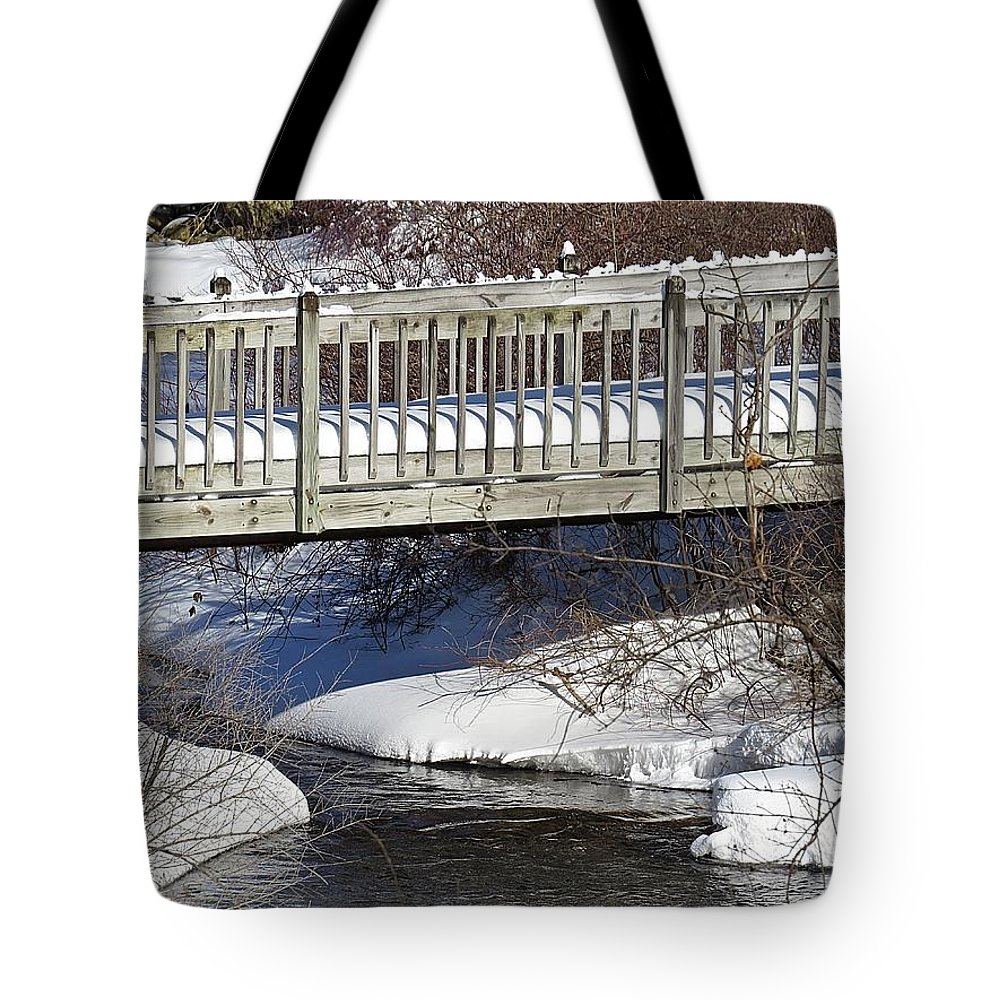 Snow Tote Bag featuring the photograph Snowy Foot Bridge by MTBobbins Photography