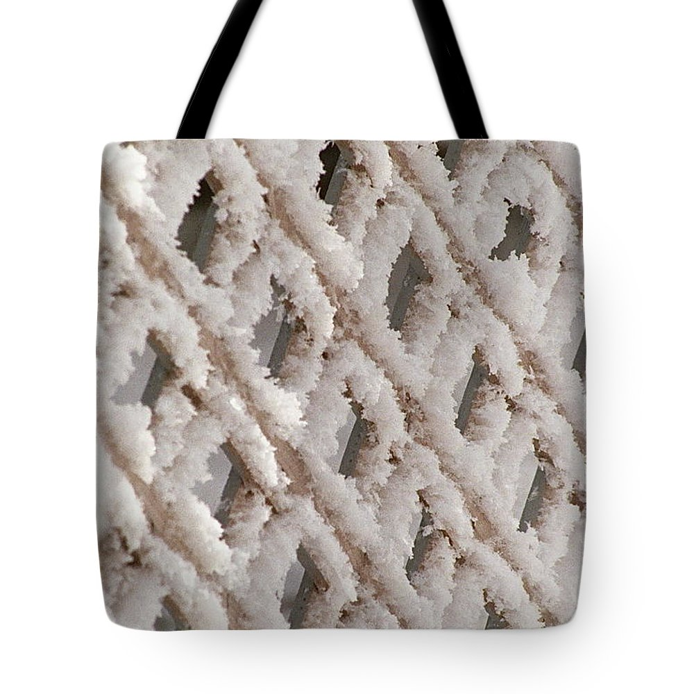 Snow Tote Bag featuring the photograph Snowy Lattice Vertical by Wayne Williams