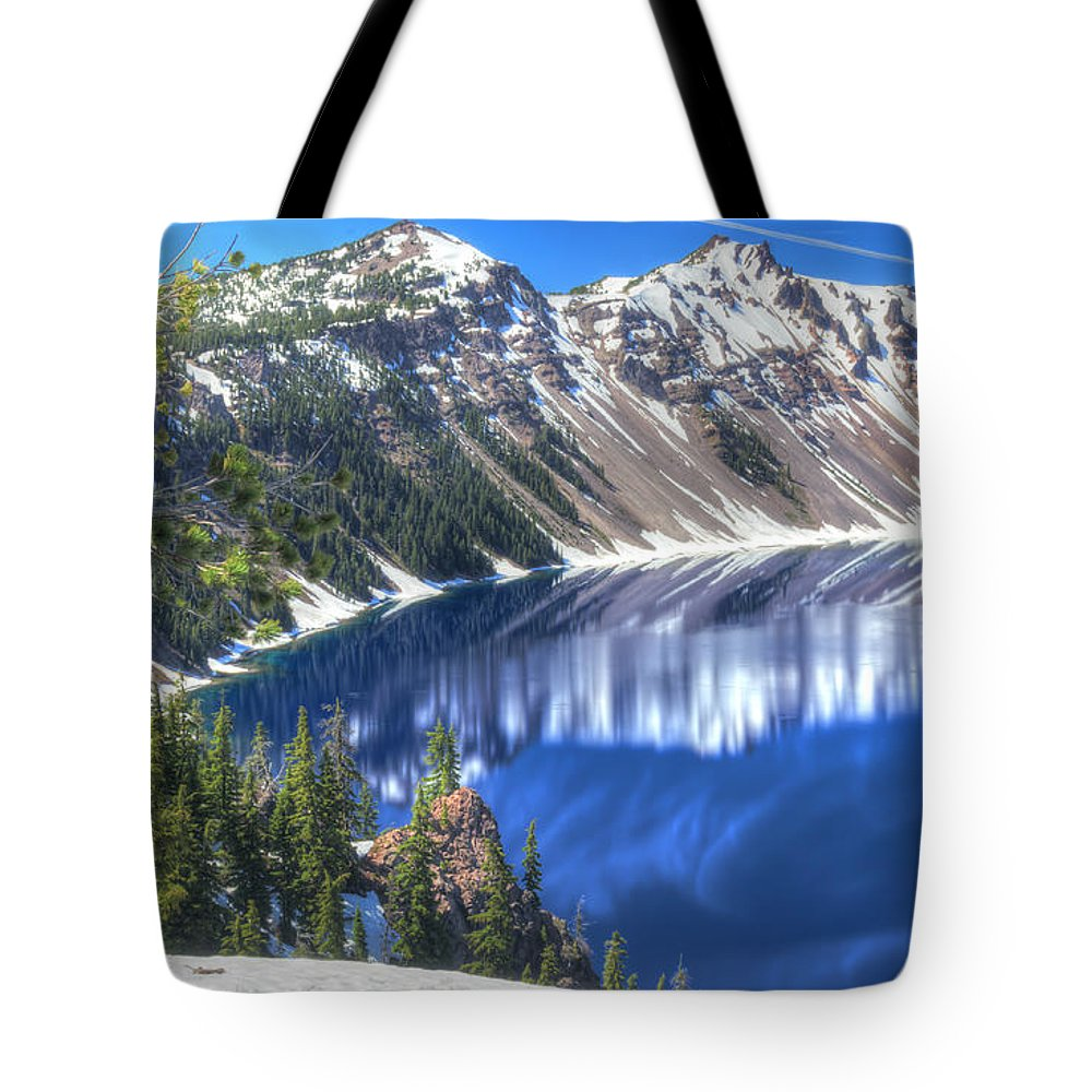 Cascade Mountains Tote Bag featuring the photograph Snowy Mountains Reflected In Crater Lake by John Trax