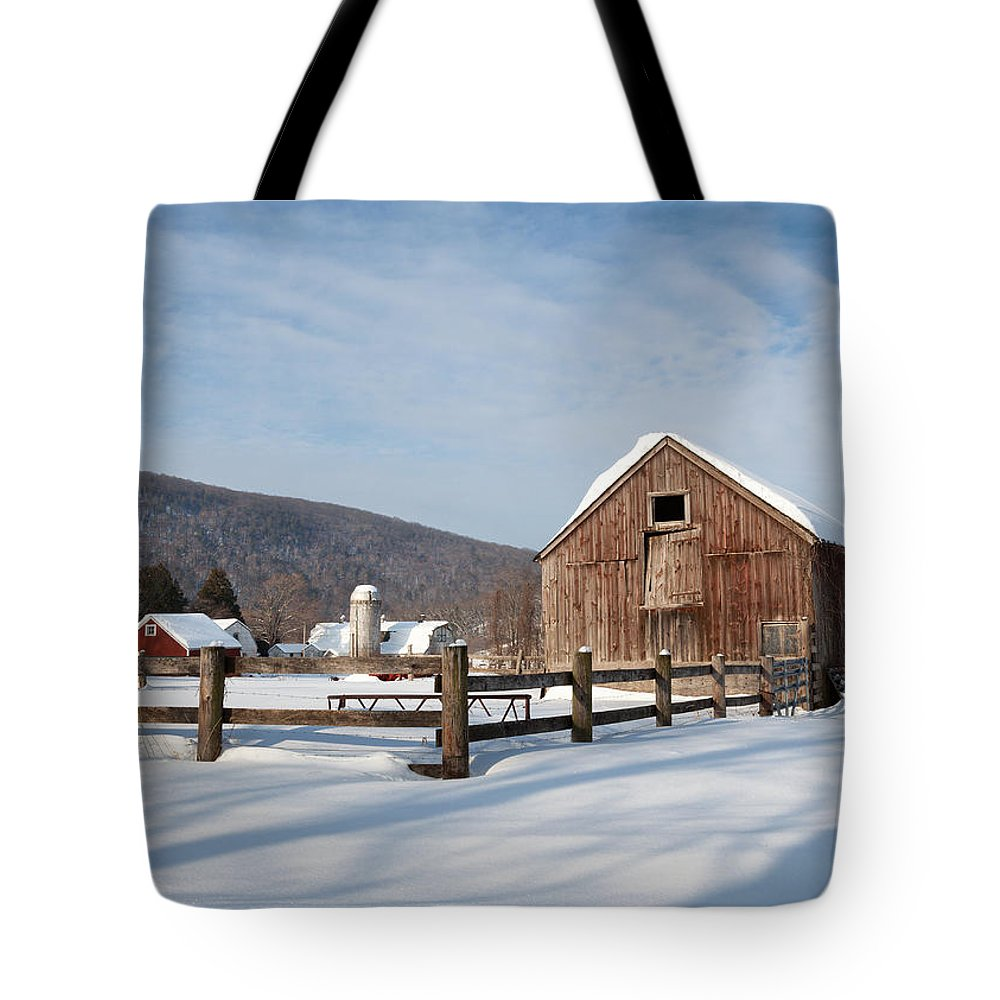 Barn Tote Bag featuring the photograph Snowy New England Barns by Bill Wakeley