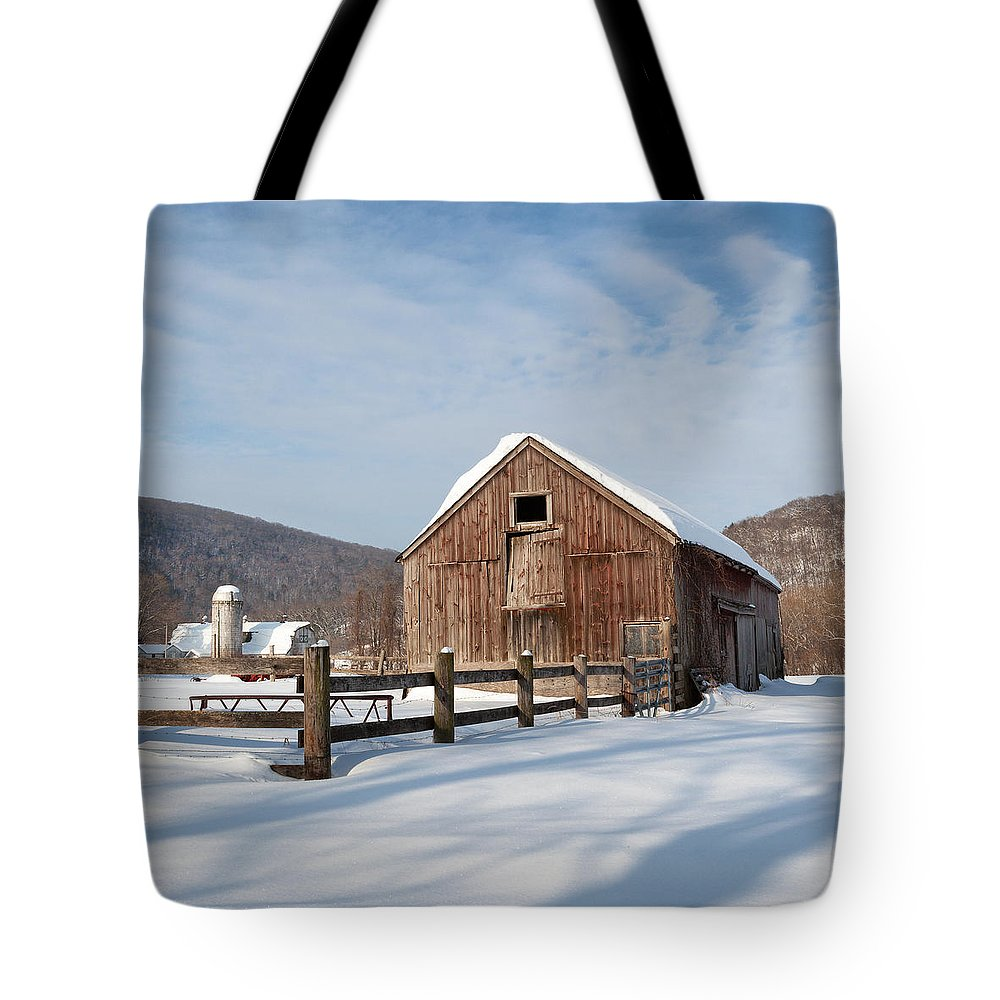 Bucolic Tote Bag featuring the photograph Snowy New England Barns Square by Bill Wakeley