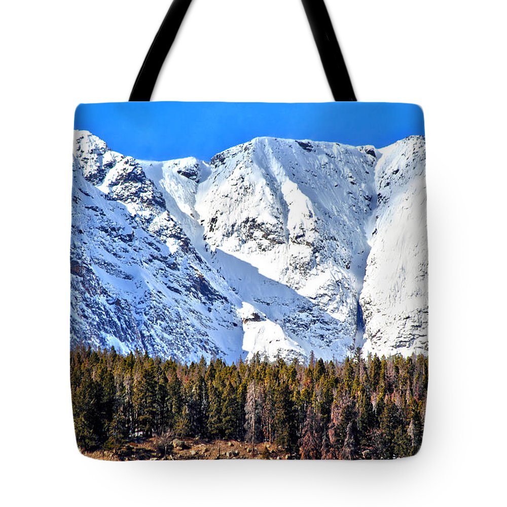 Mountains Tote Bag featuring the photograph Snowy Ridge by Shane Bechler
