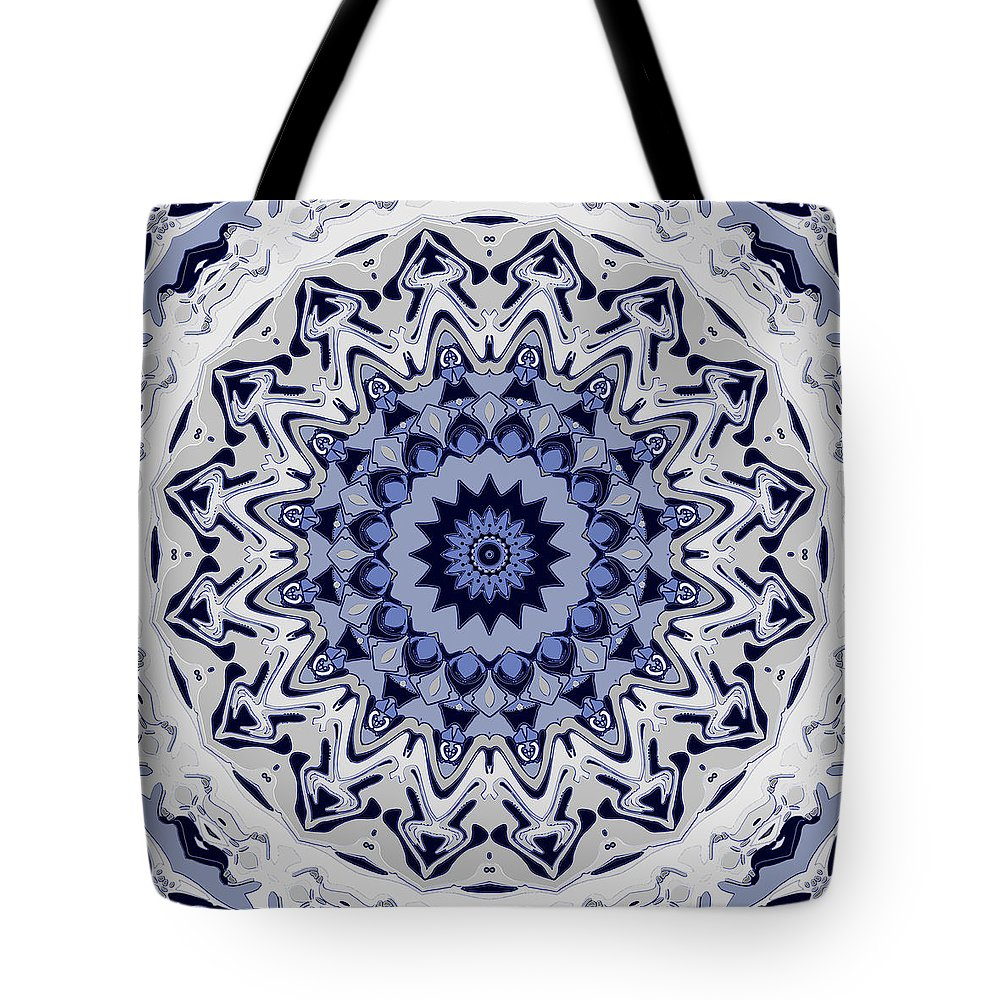 Mandala Tote Bag featuring the digital art Snowy River by Joy McKenzie