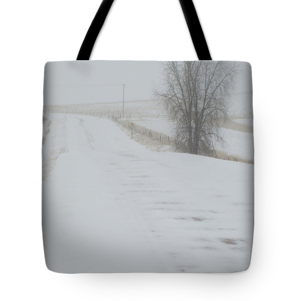 Snow Tote Bag featuring the photograph Snowy Road by Cathy Anderson