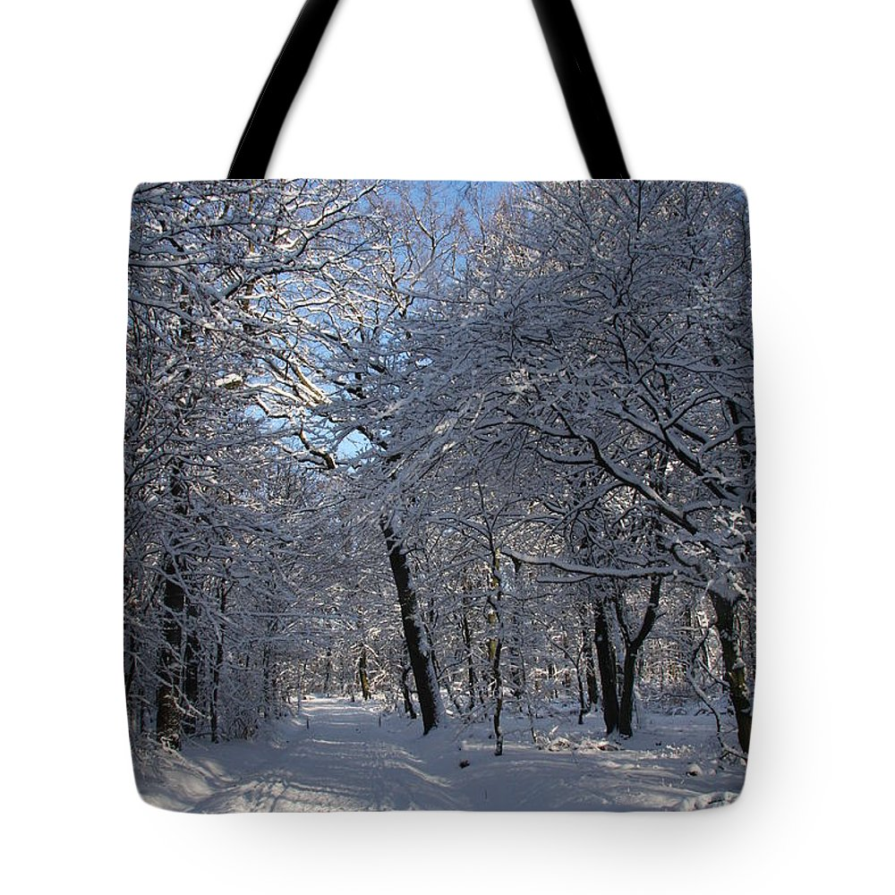 Forest Tote Bag featuring the photograph Snowy Trail by Christiane Schulze Art And Photography