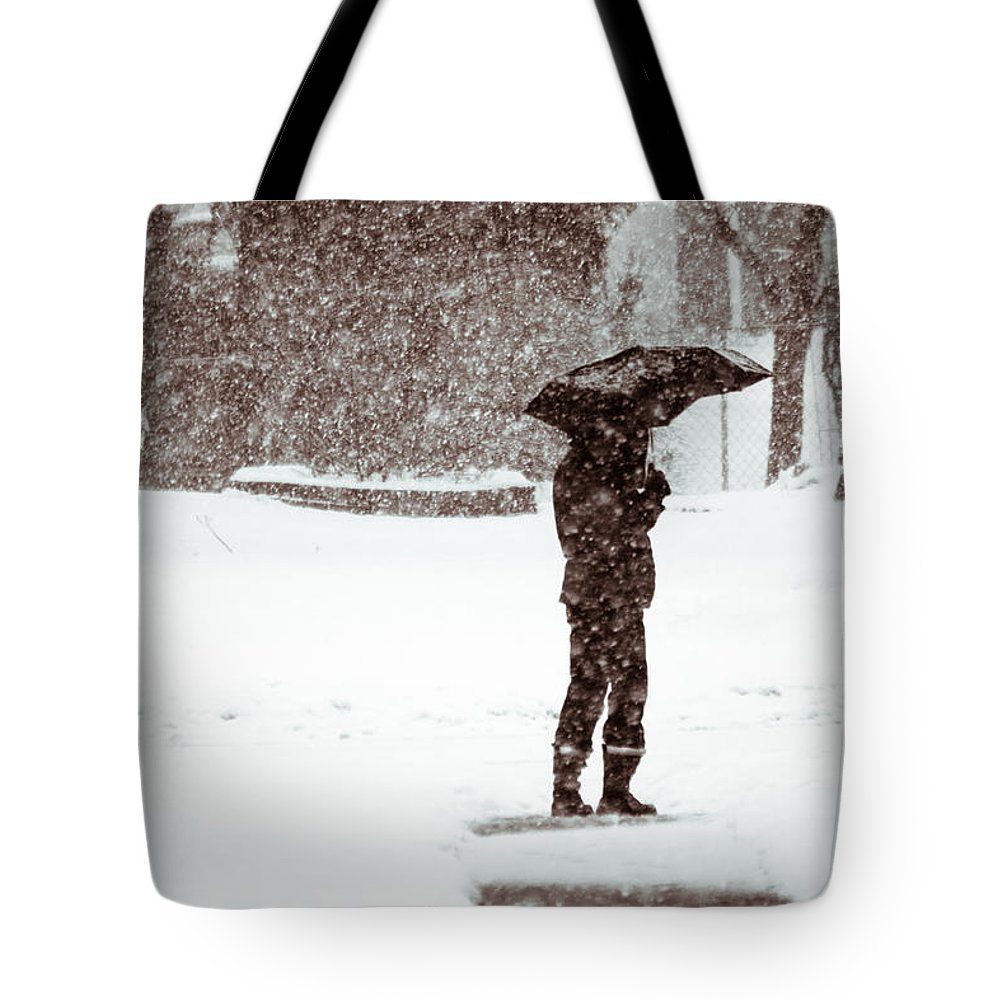 Winter Tote Bag featuring the photograph Snowy Walk by Lauri Novak