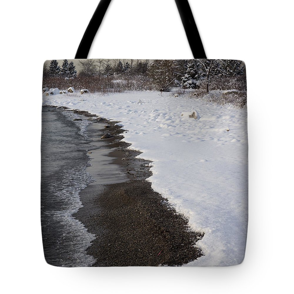 Georgia Mizuleva Tote Bag featuring the photograph Snowy Winter Beach Patterns - Lake Ontario Toronto Canada by Georgia Mizuleva