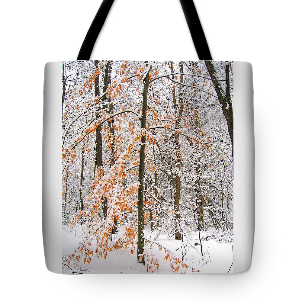Winter Tote Bag featuring the photograph Snowy Woods by Ann Horn